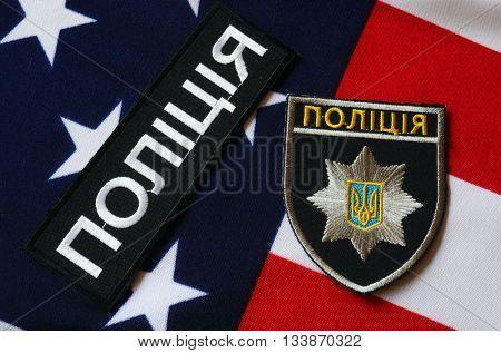 ILLUSTRATIVE EDITORIAL.Chevron of Ukrainian new pro-american police.June 7,2016 in Kiev, Ukraine