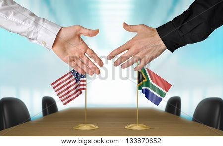 United States and South Africa diplomats shaking hands to agree deal, part 3D rendering