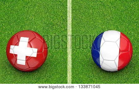 Team balls for Switzerland vs France football tournament match, 3D rendering