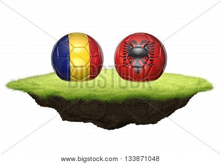 Romania and Albania team balls for football championship tournament, 3D rendering
