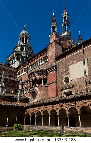 Small cloister of the Certosa di Pavia. The monastery is typical of the Lombard architecture and combines Gothic and Renaissance styles. It was built by Carthusians in 1396-1495.