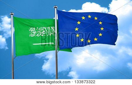 Saudi Arabia flag with european union flag, 3D rendering