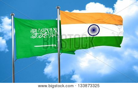 Saudi Arabia flag with India flag, 3D rendering