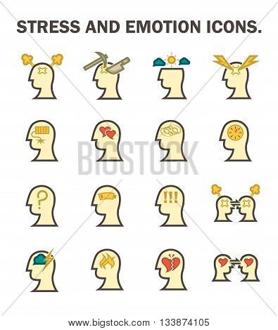 Stress and emotion vector icons sets design