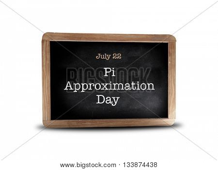 Pi Approximation Day on a blackboard