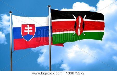 Slovakia flag with Kenya flag, 3D rendering