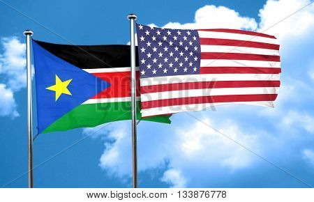 south sudan flag with American flag, 3D rendering