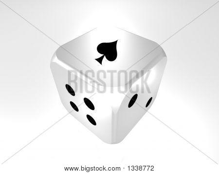 3D Cube Die Showing Ace