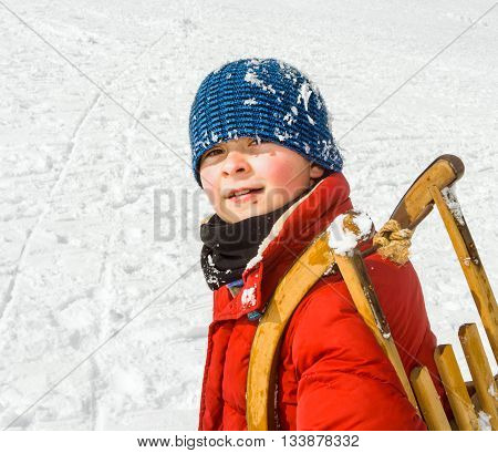 Boy Carries His Sledge Up The Hill