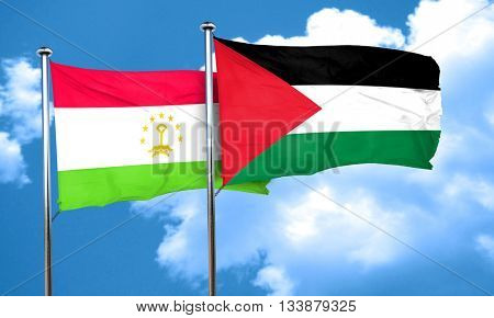Tajikistan flag with Palestine flag, 3D rendering