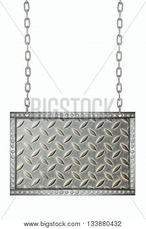 Background metal signboard hanging on chains isolated