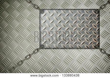 Background metal signboard hanging on aluminum background