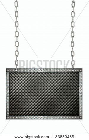 black plastic signboard hanging on chains isolated