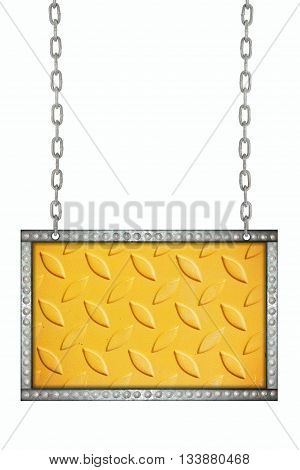 metal plate signboard hanging on chains isolated