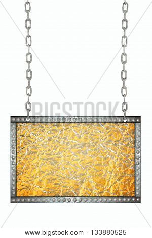 Shiny leaf gold and Bronze Shiny leaf foil signboard hanging on chains isolated