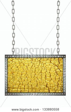 Gold foil cracked signboard hanging on chains isolated