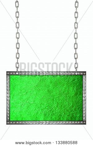 Shiny Green leaf foil signboard hanging on chains isolated