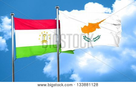 Tajikistan flag with Cyprus flag, 3D rendering