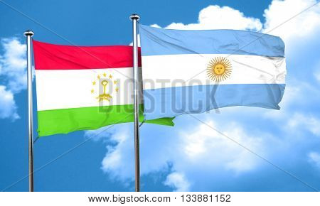 Tajikistan flag with Argentine flag, 3D rendering
