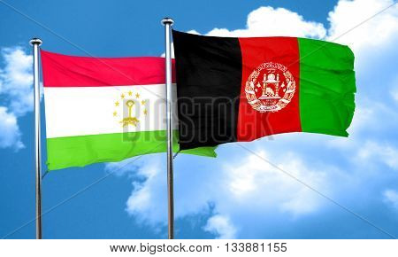 Tajikistan flag with afghanistan flag, 3D rendering