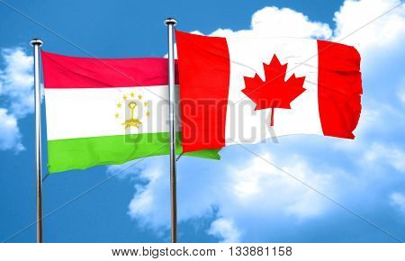 Tajikistan flag with Canada flag, 3D rendering