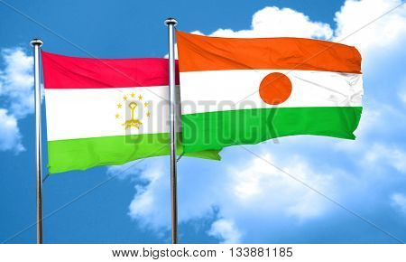 Tajikistan flag with Niger flag, 3D rendering