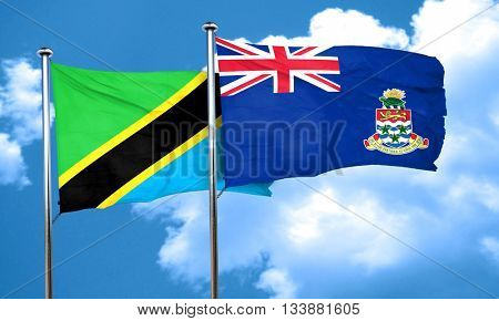 Tanzanian flag with Cayman islands flag, 3D rendering