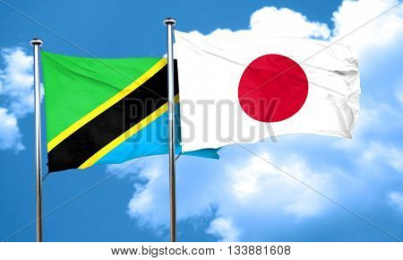 Tanzanian flag with Japan flag, 3D rendering