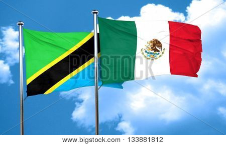 Tanzanian flag with Mexico flag, 3D rendering