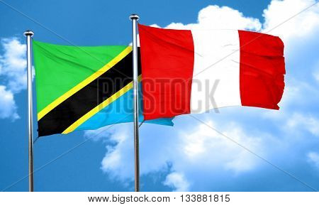 Tanzanian flag with Peru flag, 3D rendering