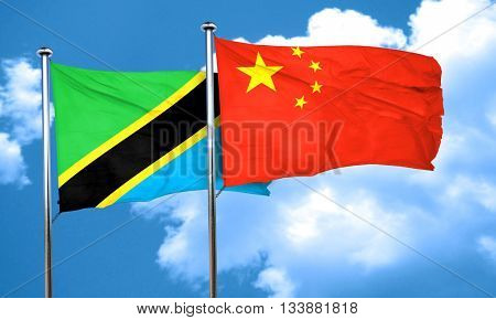Tanzanian flag with China flag, 3D rendering