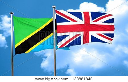 Tanzanian flag with Great Britain flag, 3D rendering