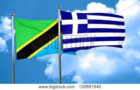 Tanzanian flag with Greece flag, 3D rendering