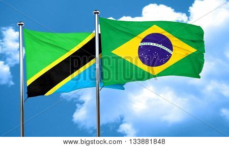 Tanzanian flag with Brazil flag, 3D rendering