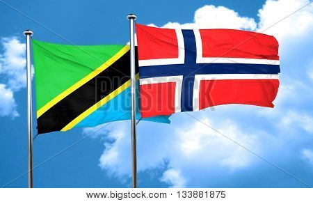 Tanzanian flag with Norway flag, 3D rendering