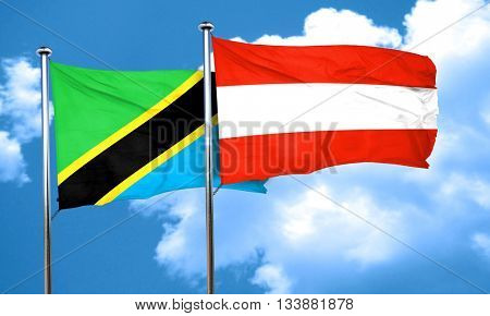 Tanzanian flag with Austria flag, 3D rendering