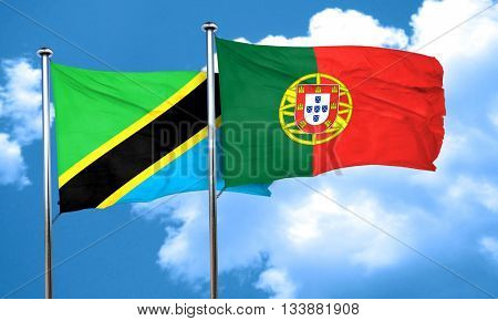 Tanzanian flag with Portugal flag, 3D rendering