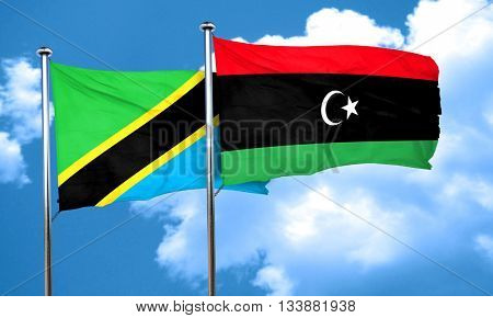 Tanzanian flag with Libya flag, 3D rendering