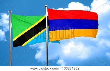 Tanzanian flag with Armenia flag, 3D rendering