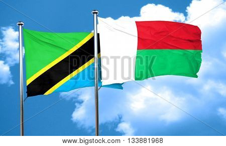 Tanzanian flag with Madagascar flag, 3D rendering