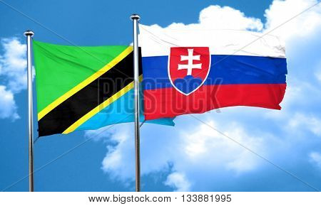 Tanzanian flag with Slovakia flag, 3D rendering