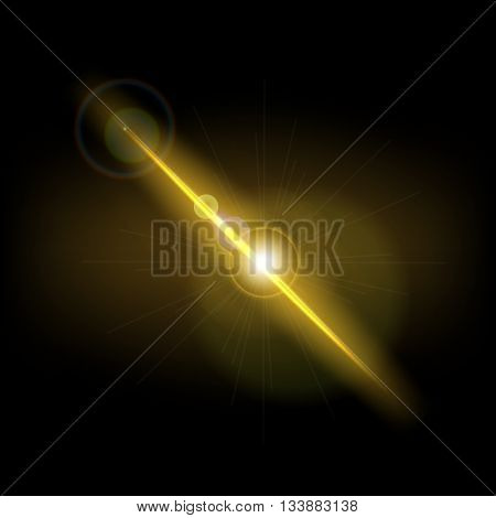 Abstract background with yellow lens flare, stock vector