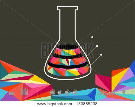 Vector illustration of icon beaker on dark background