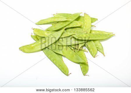 Snow peas flat green bean on white background
