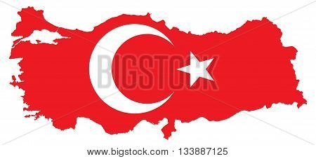 Vector illustration of the map of Turkey, Turkish map with Turkish Flag