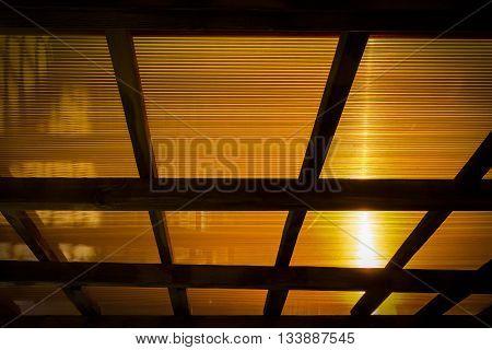 The roof of the veranda of orange polycarbonate