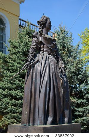 NOVORZHEV, RUSSIA - MAY 08, 2016: The sculpture of Catherine II closeup. The monument in front of the administration of the city of Novorzhev, Main landmark of the Pskov region, Russia