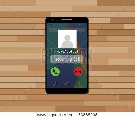 incoming call single isolated object with single phone vector graphic illustration