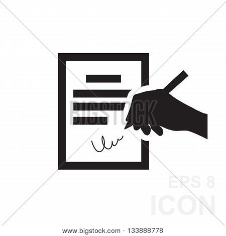 The Contract Icon. Agreement And Signature, Pact, Accord, Convention Symbol.