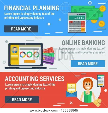 Vector horizontal banners financial accountant concept. Financial planning online banking accounting services in flat style. Web banners and elements